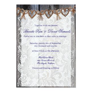 Rust Wood Lace Twine Wedding Invitation
