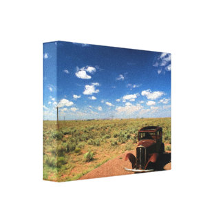 Rusted Car in Desert on Wrapped Canvas