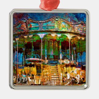 RUSTED CARNIVAL MEMORIES Silver-Colored SQUARE DECORATION
