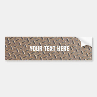 Rusted checker plate made from steel or metal car bumper sticker