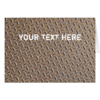 Rusted checker plate made from steel or metal greeting card