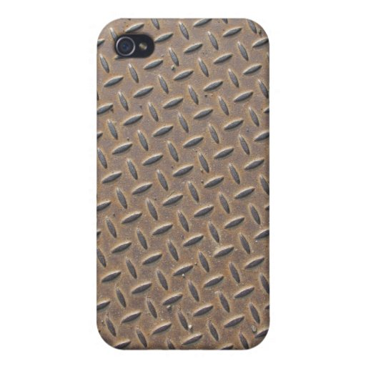 Rusted checker plate made from steel or metal cover for iPhone 4
