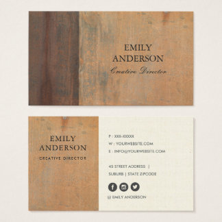 RUSTED CORROSIVE GRUNGE ORANGE METAL TEXTURED BUSINESS CARD