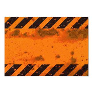 Rusted Hazard Stripes Background 9 Cm X 13 Cm Invitation Card