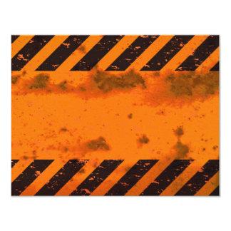 Rusted Hazard Stripes Background 11 Cm X 14 Cm Invitation Card