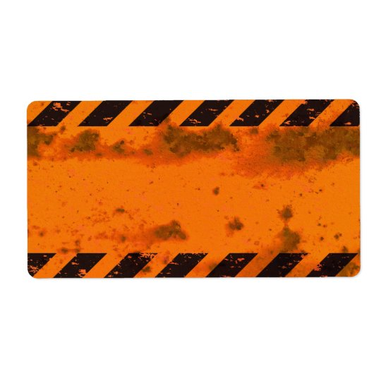 Rusted Hazard Stripes Background Shipping Label