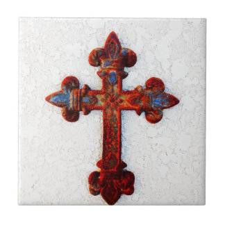 Rusted Iron Cross Christian Gifts Ceramic Tile