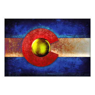 Rusted Metal Colorado Flag Photographic Print