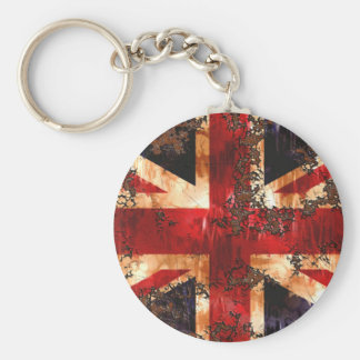 Rusted Patriotic United Kingdom Flag Basic Round Button Key Ring