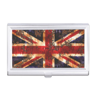 Rusted Patriotic United Kingdom Flag Business Card Holder