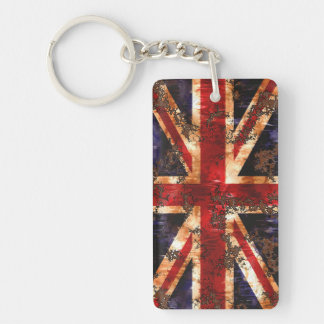 Rusted Patriotic United Kingdom Flag Double-Sided Rectangular Acrylic Key Ring