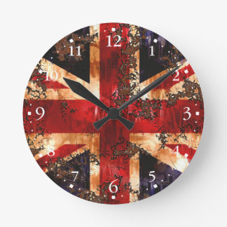 Rusted Patriotic United Kingdom Flag Round Clock
