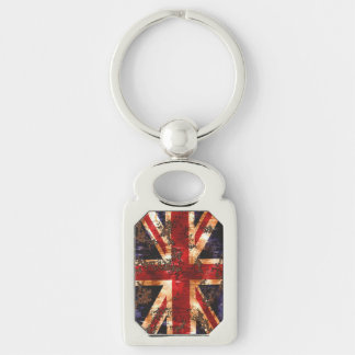 Rusted Patriotic United Kingdom Flag Silver-Colored Rectangle Key Ring