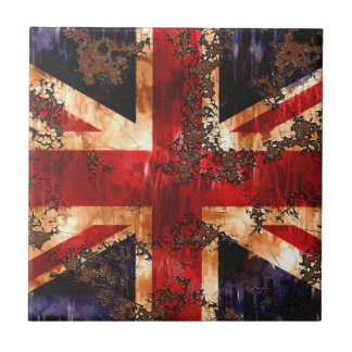Rusted Patriotic United Kingdom Flag Small Square Tile