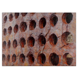 Rusted Perforated Metal Glass Chopping Board