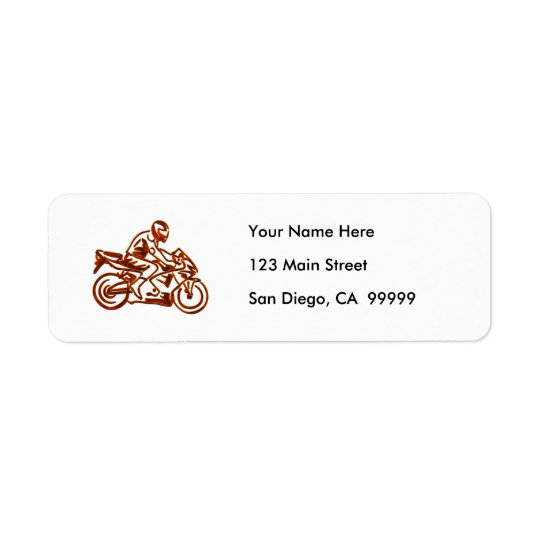 Rusted Rider on Motorcycle Return Address Label