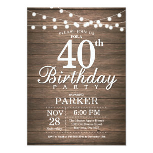 40th invitations announcements zazzle au rustic 40th birthday invitation string lights wood filmwisefo
