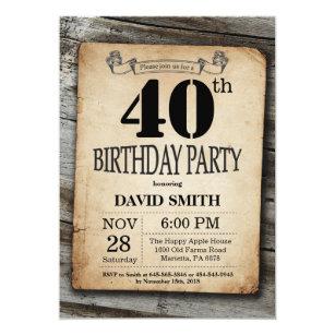 Rlvzcacheau Rustic 40th Birthday Invitation