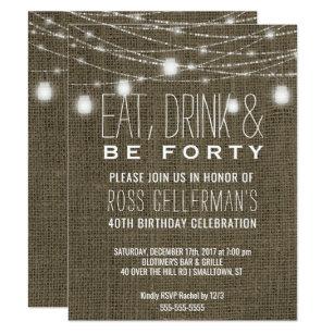 40th birthday invitations zazzle rustic 40th birthday party burlap string lights invitation filmwisefo