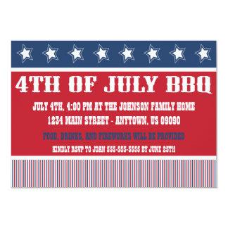 """Rustic 4th Of July BBQ Invitations 5"""" X 7"""" Invitation Card"""