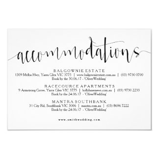 Rustic Accommodations Info Card