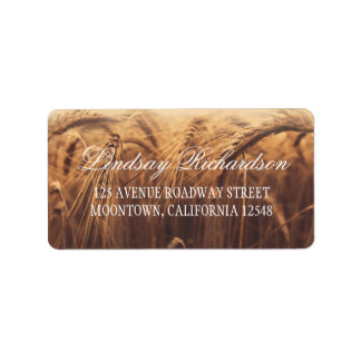 rustic address labels with wheat