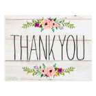 Rustic Adorned with Floral | Thank You Postcard
