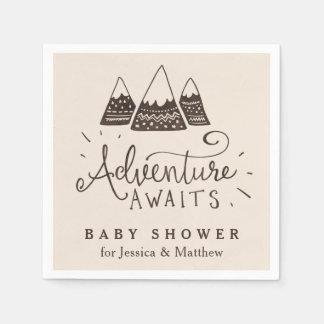 Rustic Adventure Themed Baby Shower Napkins Disposable Serviette