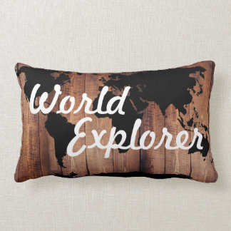 Rustic Adventure World Explorer World Map Dark Lumbar Cushion