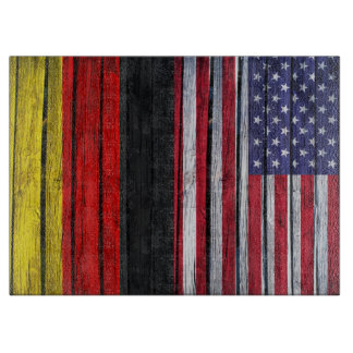 Rustic American Flag and German Flag Cutting Board
