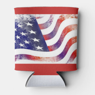 Rustic American Flag Can Cooler