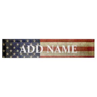Rustic American Flag Name Plate