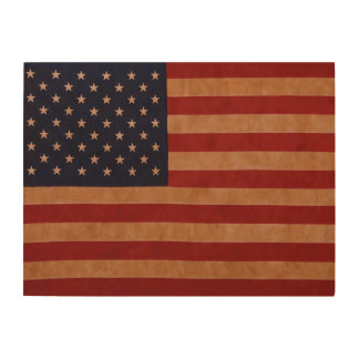 Rustic American Flag on Wood. Wood Print