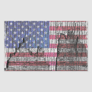 Rustic American Flag Rectangular Sticker