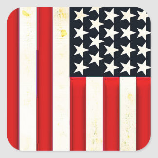 Rustic American Flag Square Sticker