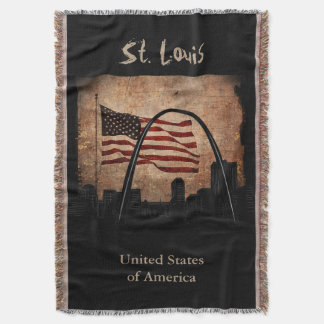Rustic American Flag St. Louis Skyline Landmark