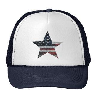 Rustic American Flag Star Cap
