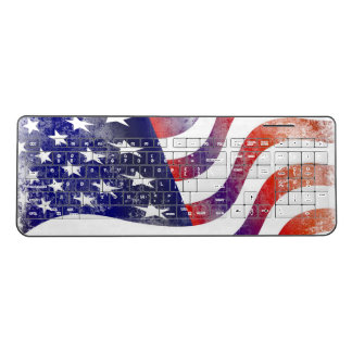 Rustic American Flag Wireless Keyboard