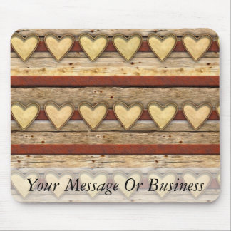 Rustic Americana Hearts Mouse Pad