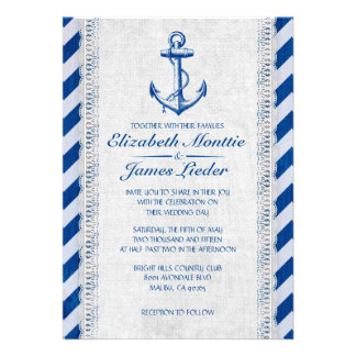 Rustic Anchor Nautical Wedding Invitations Invite