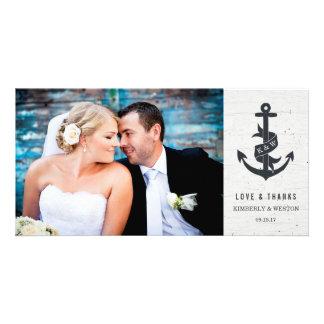 Rustic Anchor Wedding Thank You Photo Card