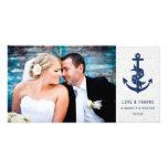 Rustic Anchor Wedding Thank You Photo Card / Navy