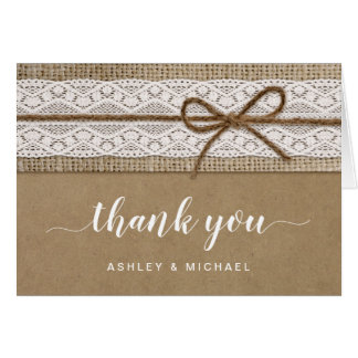 Rustic and Elegant Lace Burlap Script Thank You Note Card