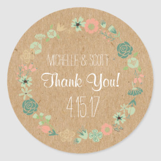Rustic and Floral Stickers, Wedding Favor Stickers
