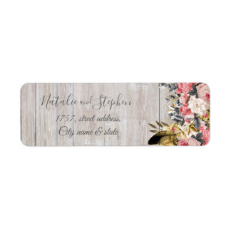 Rustic and romantic vintage floral wedding collect return address label