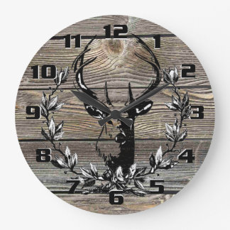 Rustic and Vintage Country Deer Kitchen Large Clock