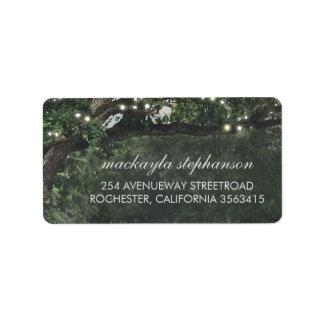Rustic and Vintage Lights Tree Wedding Label