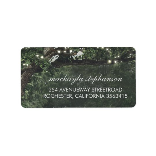 Rustic and Vintage Lights Tree Wedding Label