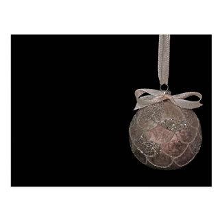 Rustic Antique Christmas ornament bauble ribbon Postcard