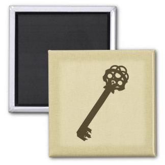 Rustic Antique Key Square Magnet
